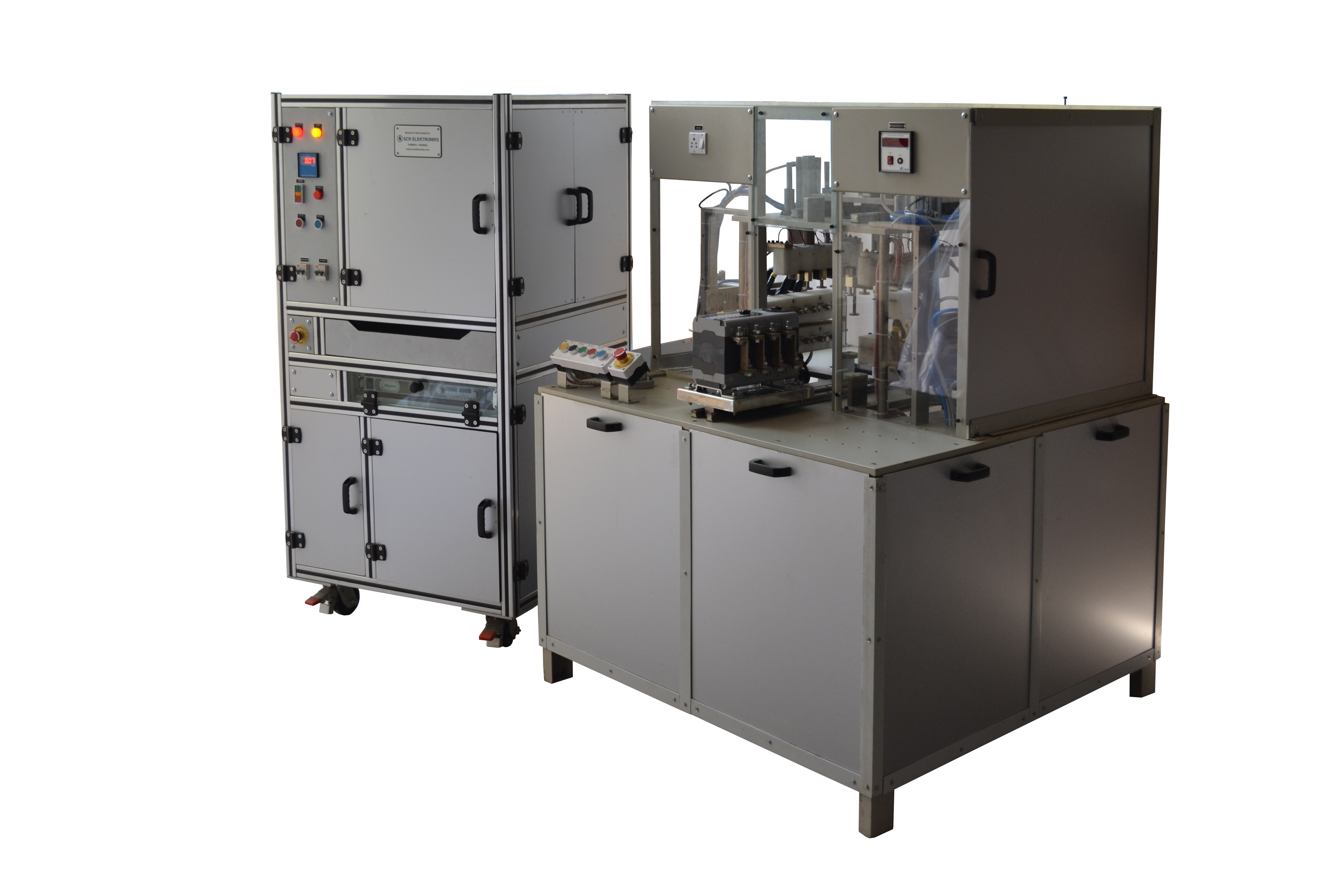 Hipot tester with Mechanical Electro-pneumatic operated test fixture jig